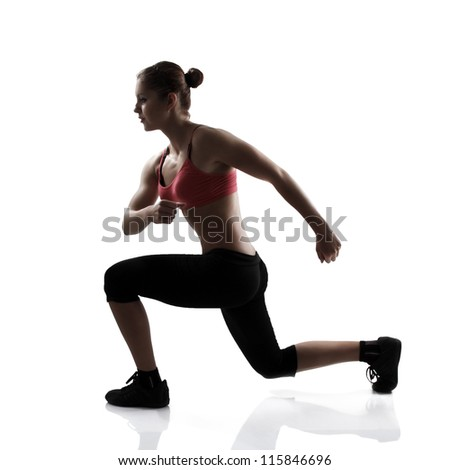 sport young athletic woman doing lunge, silhouette studio shot over white background