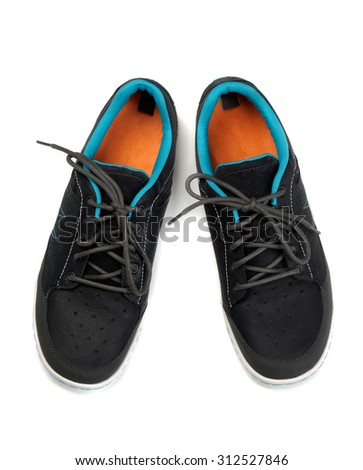 Sporting colored casual shoes. Isolate on white. - stock photo