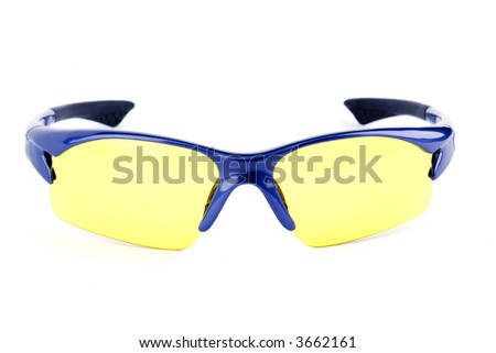 sporting eyeglasses with yellow lens - stock photo