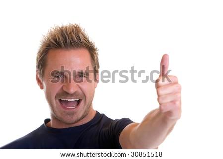 Sportive man express happiness - stock photo