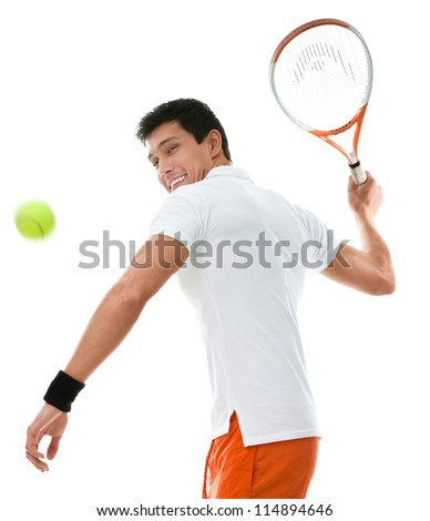Sportive man playing tennis, isolated on white - stock photo