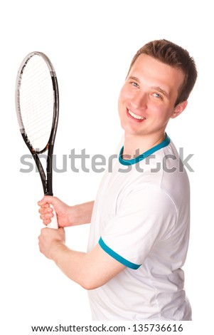 Sportive young man playing tennis isolated on white - stock photo