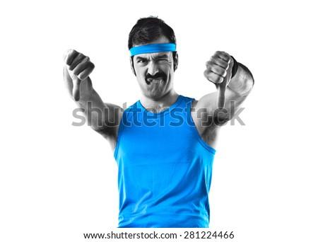 Sportman doing bad signal  - stock photo