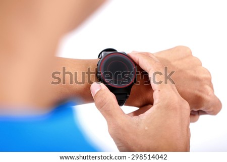 Sportman Setting sport watch isolated on white - stock photo
