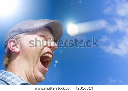 Sports Action Shot Of A Screaming Golfer Yelling Out In Horror At A Motioning Golf Ball Flying Directly At His Head In A Humor Sporting Conceptual
