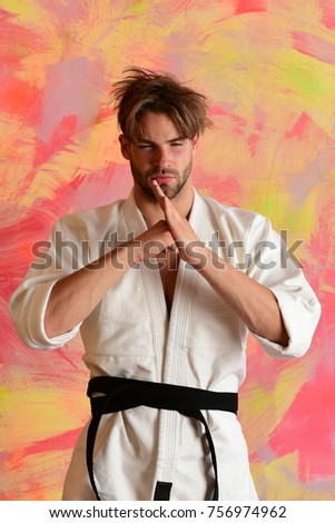 Sports combat concept karate fighter strong stock photo 756974962 karate fighter with strong body shows traditional martial arts greeting m4hsunfo