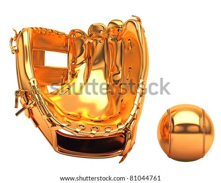 Sports and leisure: golden baseball glove and ball isolated over white background
