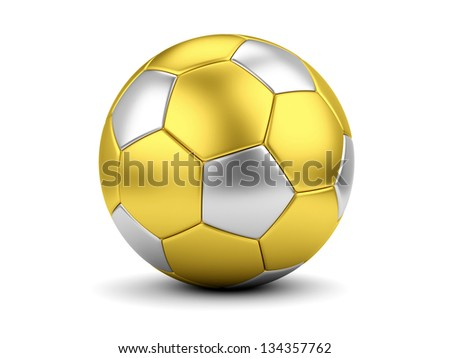 Sports award concept. Gold and silver soccerball on white - stock photo