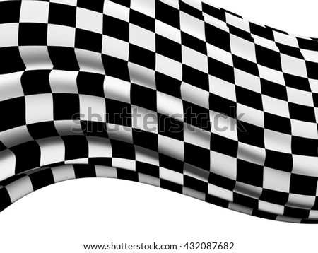 Sports background - abstract checkered flag. Isolated on white background. 3d render
