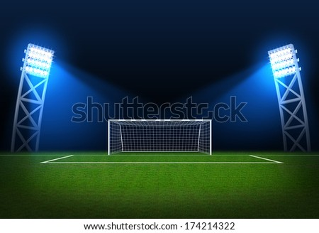 Sports background - Soccer stadium, arena in night illuminated bright spotlights, soccer goal  - stock photo