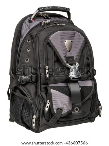 Sports backpack on white background - stock photo