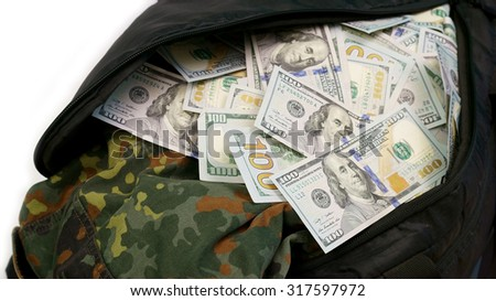 Sports bag full of money
