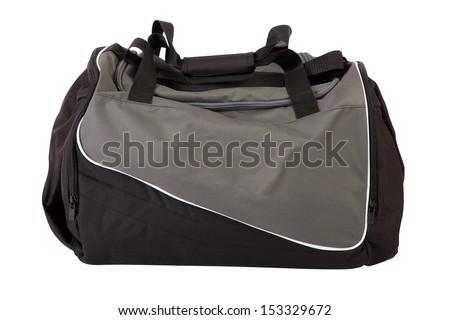 Sports bag isolated on white - stock photo