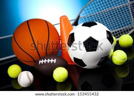 Sports balls, a lot of balls and stuff  - stock photo