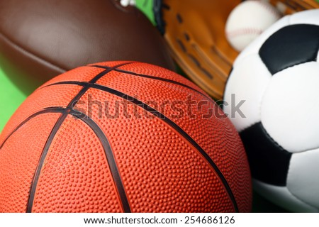 Sports balls close up - stock photo