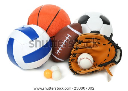 Sports balls isolated on white - stock photo