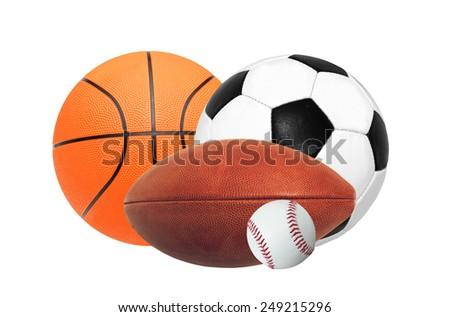 Sports balls isolated on white background - stock photo