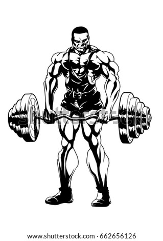 sports bodybuilding,illustration,logo,ink,black and white,outline,isolated on a white