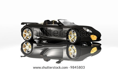 sports car black paint, designd with the designer in mind, simple but detaild