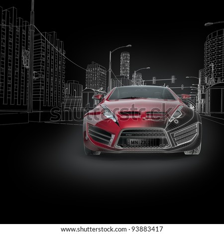 Sports Car Blueprint Original Car Design Stock Illustration 93883417 ...