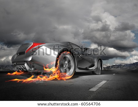 Sports car burnout.  Original car design. - stock photo