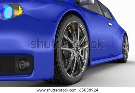 Sports car - 3d render. No trademark issues as the car is 100% my own design. - stock photo