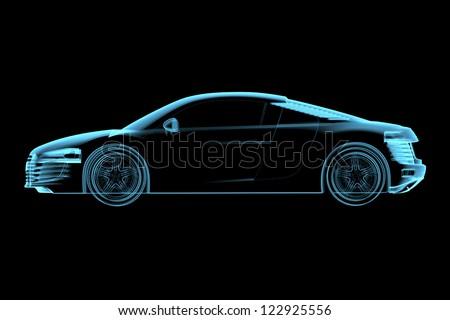 Sports car (3D xray blue transparent) - stock photo