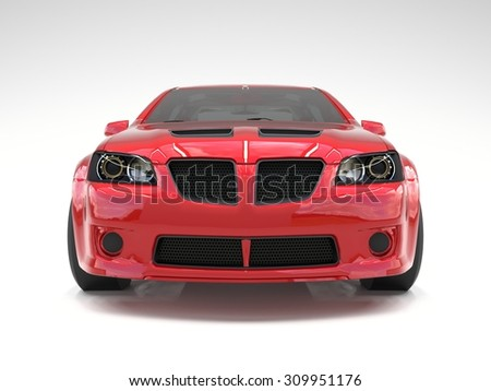 Sports car front view. The image of a sports red car on a white background - stock photo