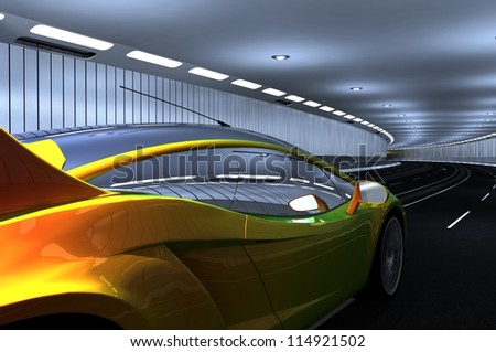Sports car in the tunnel.