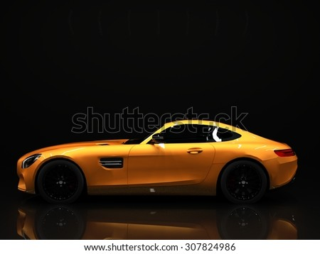 Sports car left view. The image of a sports gold car on a black background - stock photo