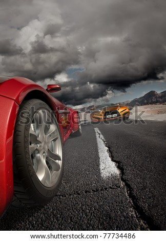 Sports car moving on the road. Original car design. - stock photo