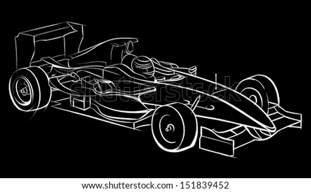 Sports car racing, drawn by hand. Pencil drawing, graphic technique. Competitions race. White smooth lines on a black background - stock photo