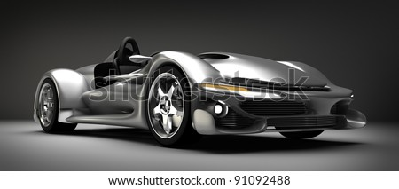Sports car road-star 3d render (No trademark issues as the car is my own design) - stock photo
