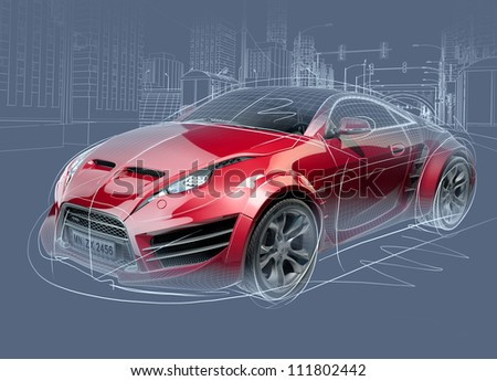 Sports car sketch. Original car design. - stock photo