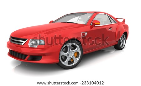 Sports car with no brand name. The car is designed and modelled by myself. High resolution 3D render