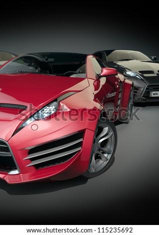 Sports cars. Non-branded car design. - stock photo