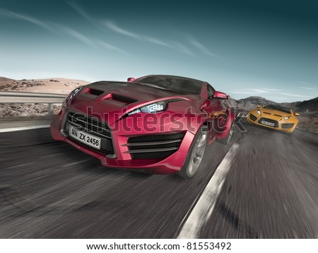 Sports cars on the road. Non-branded cars. - stock photo