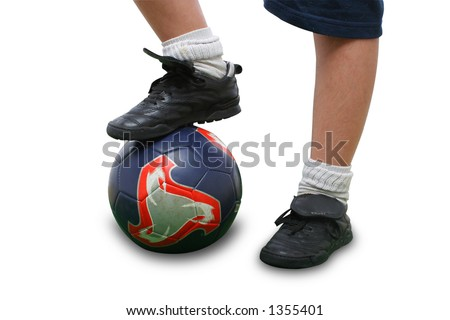 Sports. Close up of a soccer player isolated on white (clipping path included). From my football series - stock photo