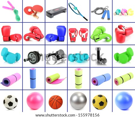 Sports equipment collage - stock photo