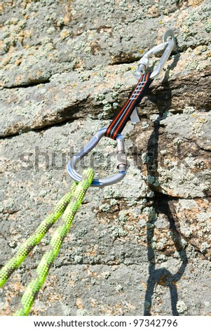 Sports equipment for mountaineering and rock-climbing - stock photo