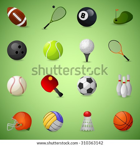 Sports equipment icons set with team games balls and rackets isolated  illustration - stock photo