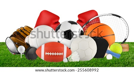 sports equipment on grass on white background - stock photo