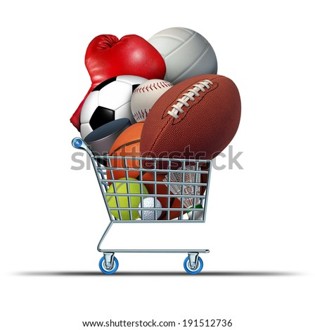 Sports equipment shopping cart buying at sport stores a football basketball baseball soccer tennis and golf ball and badminton hockey puck and volleyball as an activity budget concept. - stock photo