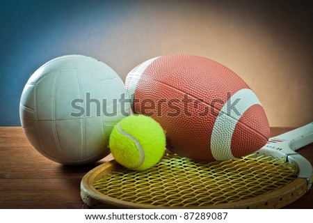 sports equipment. Tennis and Racquet, rugby and volleyball - stock photo