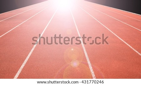 sports field running track, success concept - stock photo