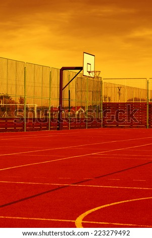 Sports field with synthetic turf and different markings, used in sports - stock photo