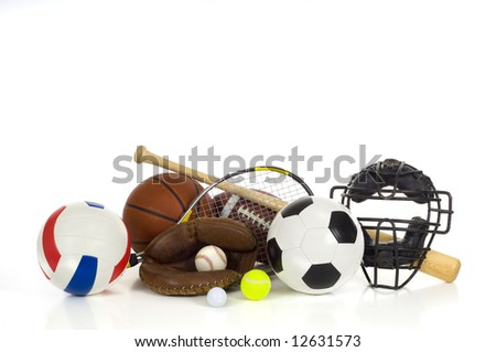 Sports gear or equipment on white background including baseball items, a bat, glove and ball and a mask, an american football, a soccer ball, a volleyball, a tennis racket and ball, a golf bll - stock photo