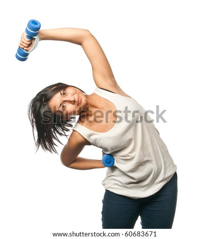 Sports girl doing exercises with dumbbells - stock photo
