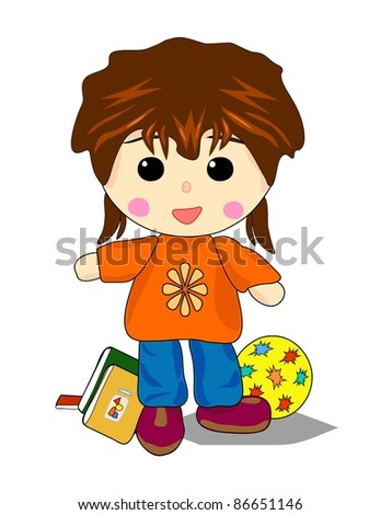 Sports Girl with books and ball - stock photo