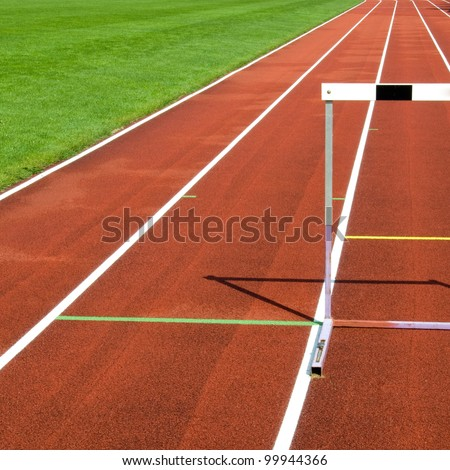 Sports ground hurdle - stock photo